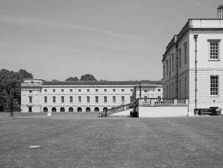 greenwich: LONDON, UK - JUNE 11, 2015: People visiting the Maritime Museum in Greenwich in black and white