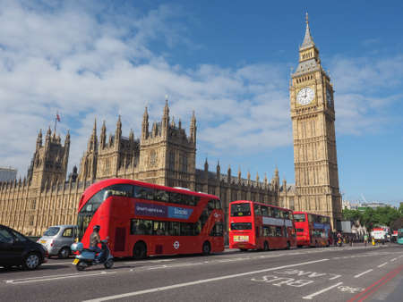 bigben: LONDON, UK - JUNE 10, 2015: Houses of Parliament aka Westminster Palace seen from Westminster Bridge