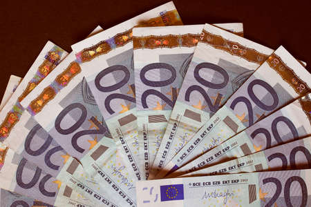 twenty: Vintage looking Twenty Euro banknotes currency of Europe
