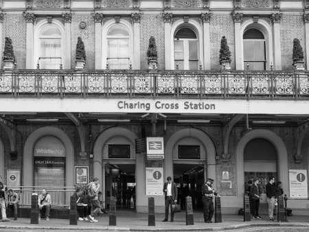 rail cross: LONDON, UK - JUNE 09, 2015: Charing Cross national rail station in black and white
