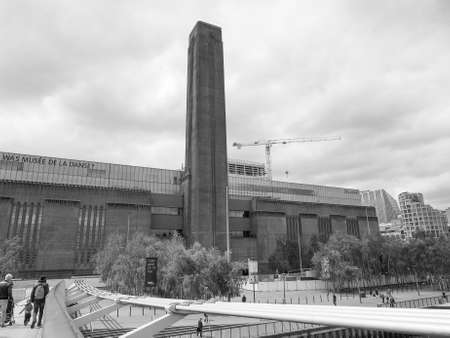 powerstation: LONDON, UK - JUNE 10, 2015: Tate Modern art gallery in South Bank powerstation among the largest and most visited art galleries in the UK in black and white Editorial