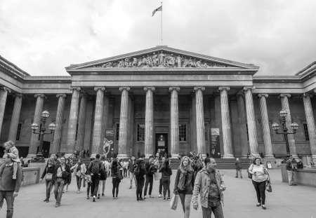 british museum: LONDON, UK - JUNE 09, 2015: The British Museum in black and white