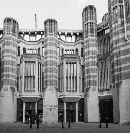 ondon: The Barbican Centre iconic new brutalist architectu in Ondon, UK in black and white Editorial