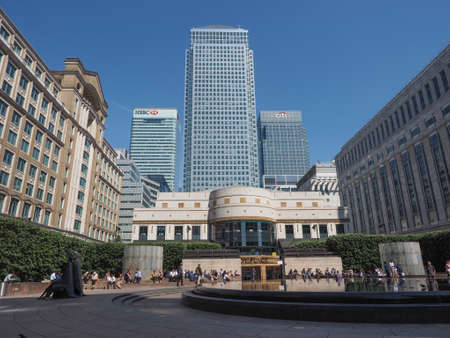 business centre: LONDON, UK - JUNE 11, 2015: The Canary Wharf business centre is the largest business district in the United Kingdom