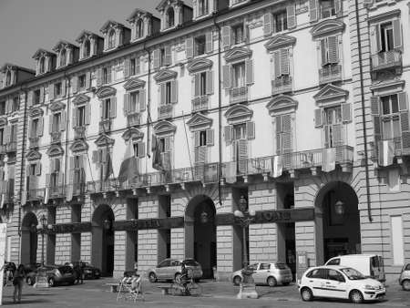 italian politics: TURIN, ITALY - JUNE 19, 2015: Palazzo della Regione is the seat of regional administration of Regione Piemonte meaning Piedmont in black and white