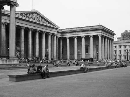 british museum: LONDON, UK - JUNE 12, 2015: The British Museum in black and white
