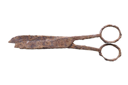 archeological: Ancient rusted scissors archeological finding in a wrecked ship under the sea