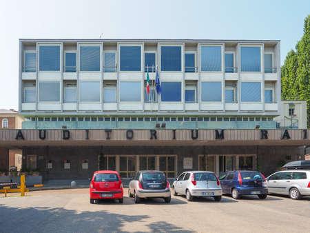 arturo: TURIN, ITALY - AUGUST 05, 2015: Auditorium RAI music hall designed by architect Carlo Mollino in 1958 dedicated to music director Arturo Toscanini