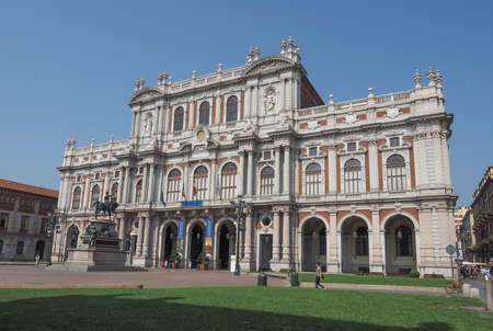 housed: TURIN, ITALY - AUGUST 05, 2015: The National Museum of the Italian Risorgimento (Museo nazionale del Risorgimento italiano) is housed in Palazzo Carignano seat of the first Italian parliament