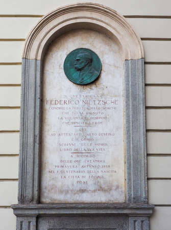 commemorative: TURIN, ITALY - AUGUST 05, 2015: Commemorative plaque for Friedrich Nietzsche at his house