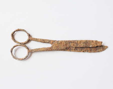 ancient atlantis: Ancient rusted scissors archeological finding in a wrecked ship under the sea