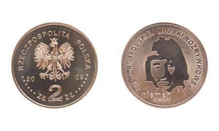 commemorating: WARSAW, POLAND - JULY 31, 2015: Polish 2 zloti coin commemorating musician Czeslaw Niemen Historia polskiej muzyki rozrywkowej meaning History of polish music Editorial