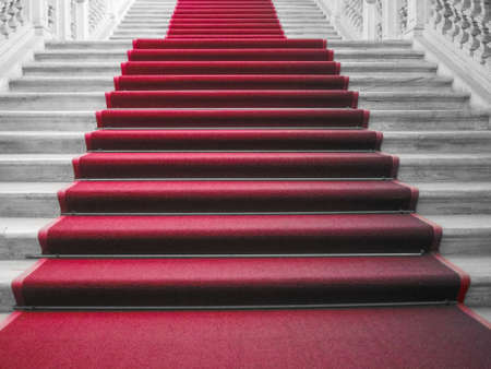 carpet: Red carpet on a stairway used to mark the route taken by heads of state, vips and celebrities on ceremonial and formal occasions or events