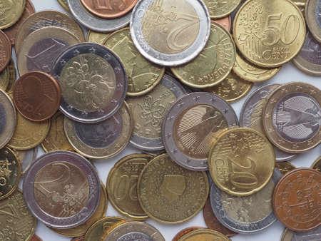 european union: Euro coins currency of the European Union