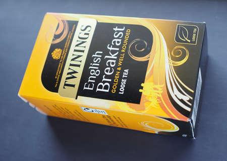english breakfast: LONDON, UK - CIRCA SEPTEMBER, 2015: Box of Twinings English Breakfast loose tea Editorial