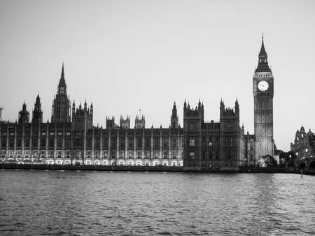 bigben: Houses of Parliament aka Westminster Palace at night in London, UK in black and white