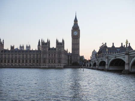 bigben: Houses of Parliament aka Westminster Palace at night in London, UK Editorial