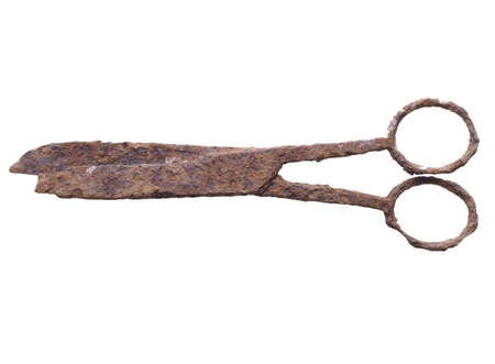 wrecked: Ancient rusted scissors archeological finding in a wrecked ship under the sea