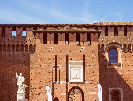 sforza: Vintage looking Castello Sforzesco meaning Sforza Castle in Milan Italy Editorial