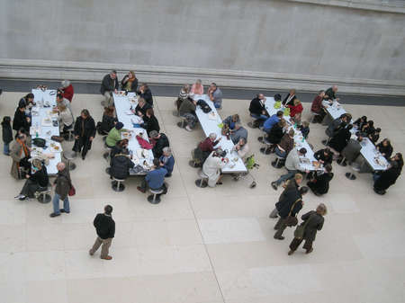 british museum: LONDON, UK - CIRCA MARCH, 2008: People queueing at the British Museum cafeteria bar in the Great Court