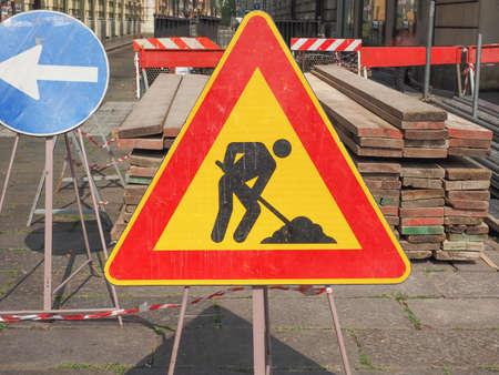 road works: Warning signs, Road works traffic sign in a building site