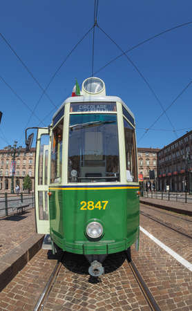 tramcar: TURIN, ITALY - CIRCA SEPTEMBER, 2015: A vintage historical green tramway seen with fisheye lens