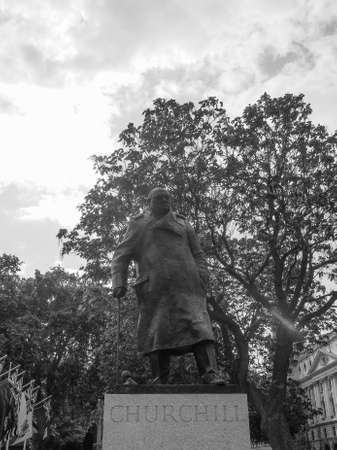 parliament square: Churchill monument in Parliament Square in London, UK in black and white