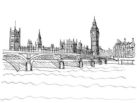 Hand made pencil illustration of Westminster Bridge with the Houses of Parliament and Big Ben in London UK Stock Photo
