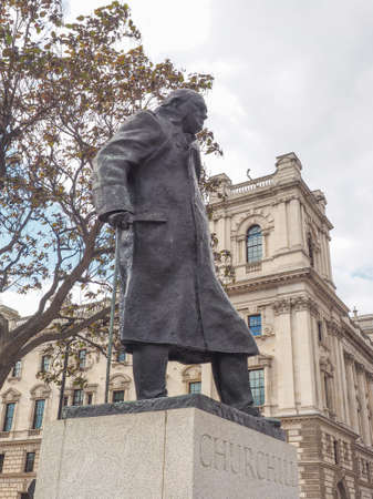 parliament square: Churchill monument in Parliament Square in London, UK Editorial