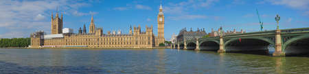 westminster bridge: High resolution panoramic view of the Houses of Parliament Big Ben and Westminster Bridge seen from river Thames in London, UK Stock Photo