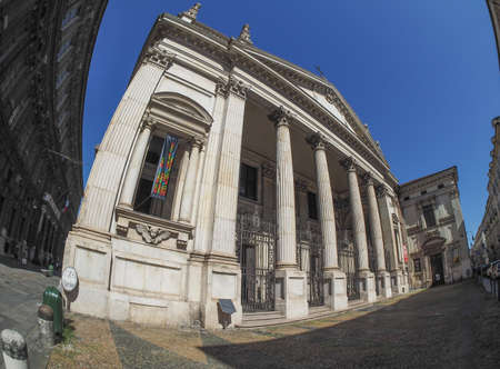 chiesa: TURIN, ITALY - CIRCA SEPTEMBER, 2015: Chiesa di San Filippo Neri church seen with fisheye lens