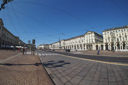 vittorio: TURIN, ITALY - CIRCA SEPTEMBER, 2015: Piazza Vittorio Emanuele II is the largest square in central Turin seen with fisheye lens