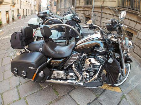harley davidson: TURIN, ITALY - CIRCA SEPTEMBER, 2015: Harley Davidson model 103 motor bike seen with fisheye lens Editorial