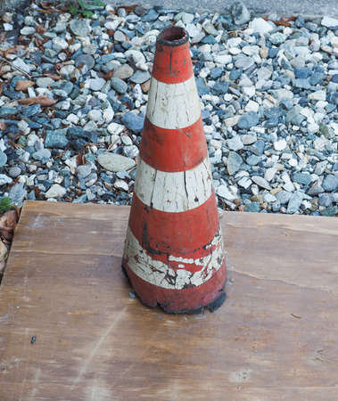 road works: Traffic cone to mark road works or temporary obstruction traffic sign