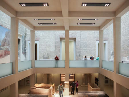 neues: BERLIN, GERMANY - CIRCA MAY, 2014: Tourists visiting the Neues Museum meaning New Museum designed by British architect David Chipperfield