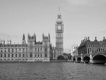 bigben: Houses of Parliament aka Westminster Palace in London, UK in black and white