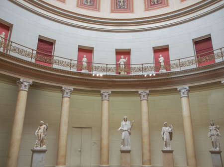 neues: BERLIN, GERMANY - CIRCA MAY, 2014: Interior view of the Neues Museum meaning New Museum restored by British architect David Chipperfield