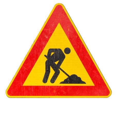 signos de precaucion: Las señales de advertencia, Obras de carretera señal de tráfico aislados sobre fondo blanco Foto de archivo