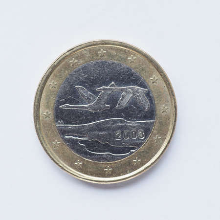 1: Currency of Europe 1 Euro coin from Finland