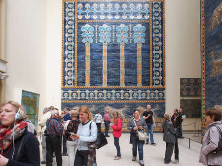 antiquities: BERLIN, GERMANY - CIRCA MAY, 2014: Tourists visiting the Pergamon Museum of antiquities Editorial