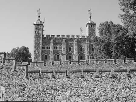 dungeons: The Tower of London in London, UK in black and white Editorial