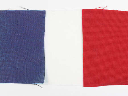 swatches: The French national flag of France made with fabric swatches