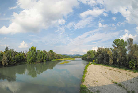 po: Fiume Po meaning River Po in Settimo Torinese near Turin, Italy