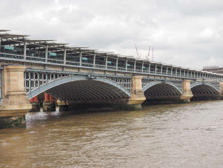 blackfriars bridge: Blackfriars Bridge over River Thames in London, UK Stock Photo