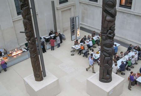 LONDON, UK - CIRCA MARCH, 2008: People queueing at the British Museum cafeteria bar in the Great Court