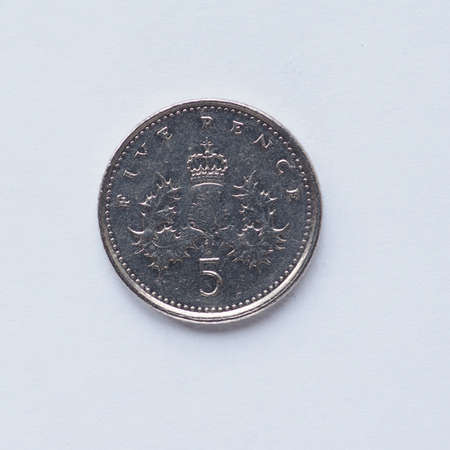 pence: Currency of the United Kingdom 5 pence coin Stock Photo