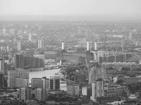 battersea: Aerial view of Battersea Power Station of London, UK in black and white Stock Photo