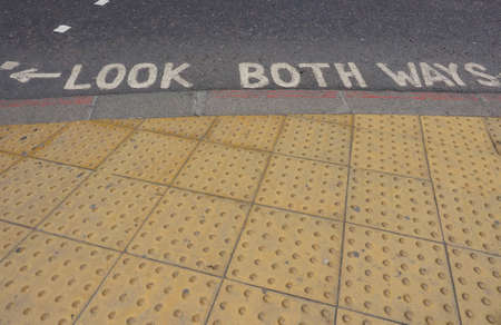 both: Look both ways sign in a London street