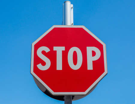 stop: Regulatory signs, Stop traffic sign over the blue sky