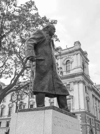 churchill: Churchill monument in Parliament Square in London, UK in black and white